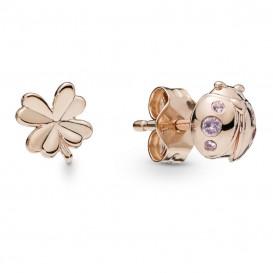 Pandora Rose 287960NPO Oorbellen zilver Four-Leaf Clover and Ladybird rosékleurig