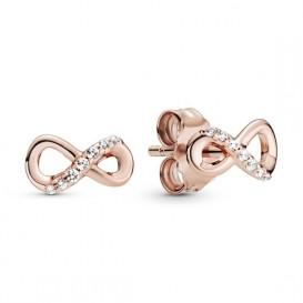 Pandora Rose 288820C01 Oorbellen zilver rosekleurig Sparkling Infinity
