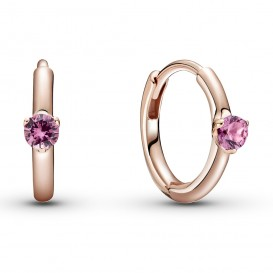 Pandora Colours 289304C03 Oorbellen Pink Solitaire Huggie Hoop zilver rosekleurig-roze