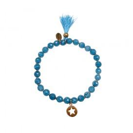 CO88 Collection 8CB-40012 - Rekarmband met bedels - Agaat natuursteen 6 mm - ster en kwast - one-size - turquoise / blauw / zilverkleurig