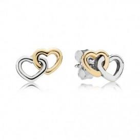 Pandora Oorknoppen zilver-goud 'Hartjes' 290567