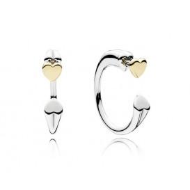 Pandora Oorbellen zilver-goud Two Hearts 296576