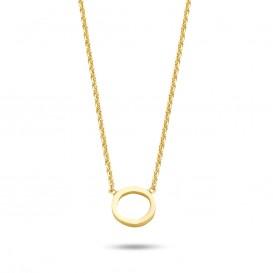 New Bling 9NB 0315 Zilveren Collier - Open rondje - 38 + 5 cm - Goudkleurig