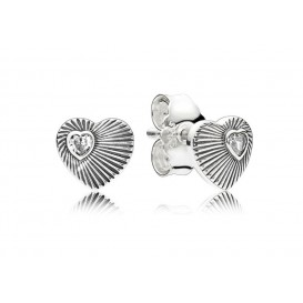 Pandora Oorbellen zilver Vintage Heart Fans 297298CZ
