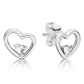 Pandora 297813CZ Oorbellen zilver Asymmetrical Heart