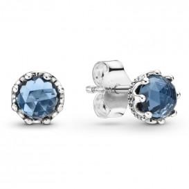 Pandora 298311NMB Oorbellen Sparkling Crown zilver-blauw