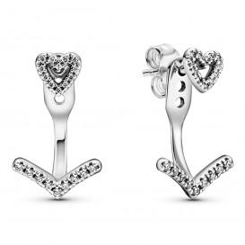 Pandora Wish 299280C01 Oorbellen Sparkling Wishbone Heart zilver