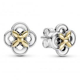 Pandora Passions 299349C00 Oorbellen Two Tone Flower zilver-goud