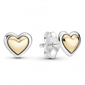 Pandora Two Tone 299389C00 Oorbellen Domed Golden Hearts zilver-goud