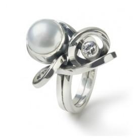 Rabinovich 05703065 Ring zilver met parel en zirconia