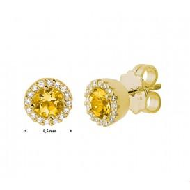 TFT Oorknoppen Diamant 0.10ct (2x0.05ct) G VSI Geelgoud Glanzend