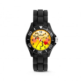 Colori Happy Smile 5-CLK071 - Kinderhorloge - siliconen band - zwart - 30 mm