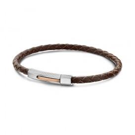 Frank 1967 - 7FB-0002 - Leren armband - met stalen elementen - 20 cm - Bruin
