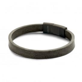 Kaliber Leather 7KB 0107 Leren armband - 10 mm - 21 cm - Grijs - Magneetsluiting
