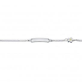 Lilly Zilveren Plaatarmband - Gourmet Witte Bloem Emaille 13+2 Cm 104.0637.15