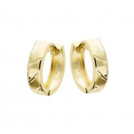 Glow Gouden Klapcreolen - Mat Glanzend  13 Mm Gediamanteerd 207.0155.13