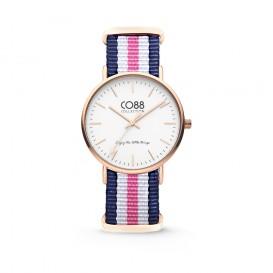 CO88 Collection 8CW-10030 - Horloge - nato nylon - blauw/wit/roze - 36 mm