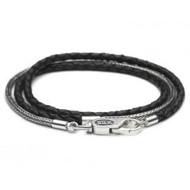 SILK Jewellery Armband zilver-leder zwart Shiva 19 cm 325BLK