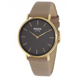 Boccia 3273-04 Horloge titanium-leder goudkleurig-taupe 35 mm