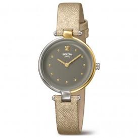 Boccia 3278-04 Horloge titanium-leder zilver- en goudkleurig 30 mm