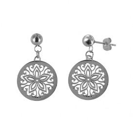 CO88 Collection 8CE-10001 - Stalen oorstekers met hanger - boheemse bloem motief 25 mm - zilverkleurig