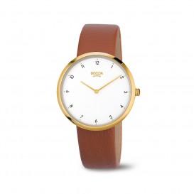 Boccia Titanium 3309.06 horloge Leer Bru Dames 1