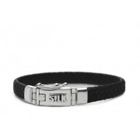 Silk Jewellery 835.19ZW Armband zilver-leder Zwart 19 cm