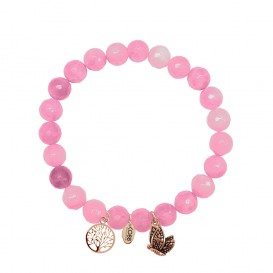 CO88 Collection 8CB-90007 - Armband met bedels - natuursteen en staal - Jade 8 mm - levensboom en vlinder - one-size - roze / rosékleurig
