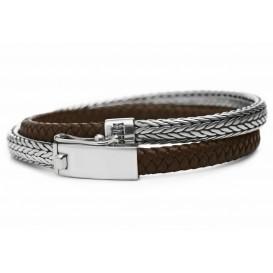 SILK Jewellery Armband zilver-leder bruin Shiva'19 cm 344BRN