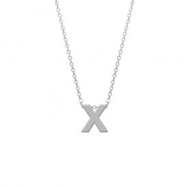 CO88 Collection 8CN-11023 - Stalen collier - letterhanger X 9 mm - lengte 42+5 cm - zilverkleurig