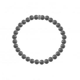 Kaliber 7KB-0075M - Heren armband - natuursteen Hematiet 6 mm - Kaliber logo - maat M (18 cm) - zilverkleurig