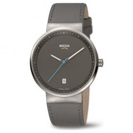 Boccia 3615-03 Horloge titanium/leder grijs 36 mm