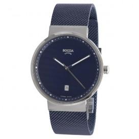 Boccia 3615-05 Horloge titanium/staal zilverkleurig-blauw 36 mm