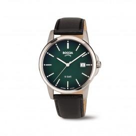 Boccia Titanium 3633.02  horloge - Leer - Zwart - 40 mm 1