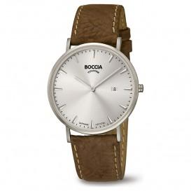 Boccia 3648-01 Horloge Titanium-Leder zilverkleurig-bruin 39 mm