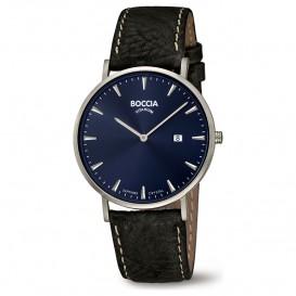 Boccia 3648-02 Horloge Titanium-Leder zilverkleurig-blauw-zwart 39 mm