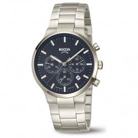 Boccia 3746-02 Horloge Chronograaf Titanium zilverkleurig-blauw 39 mm