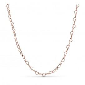 Pandora Rose 387961-60 Collier Joined Hearts zilver rosekleurig 60 cm