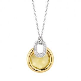 TI SENTO - Milano 3887TY Ketting zilver met gele zirconia 42-47 cm
