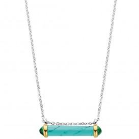 TI SENTO-Milano 3963TQ Ketting Cilinder zilver groen-turquoise-goudkleurig 38-48 cm
