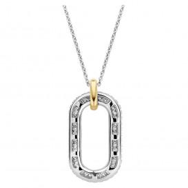 TI SENTO-Milano 3964ZY Ketting Ovaal zilver-zirconia zilver-en goudkleurig 38-48 cm