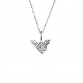 Pandora 398505C01 Ketting Pavé Heart and Angel Wings zilver 45 cm