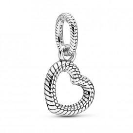 Pandora 399094C00 Hanger Pave Open Hart Slangprint zilver