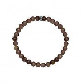 Kaliber 7KB-0060M - Heren armband met stalen element - aarde Agaat natuursteen 6 mm - maat M (18 cm) - bruin / zilverkleurig