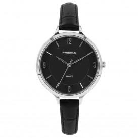 Prisma Horloge (1A) 8391 Dames Stainless Steel - Zwart Leer P.8391 Dameshorloge 1
