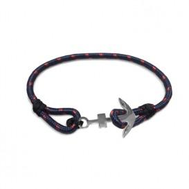 Frank 1967 Armband Rope met stalen anker blauw-rood-wit-rosékleurig 22 cm 7FB-0079