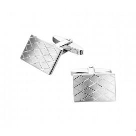 Manchetknopen Poli/mat Gediamanteerd Zilver Gerhodineerd  12,5 mm x 18,5 mm