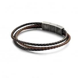 Kaliber 7KB-0134 Leren Armband - Heren - 3 Strengen - Gevlochten - Leer - Staal Slot - 9 mm -  Lengte Verstelbaar - 20 + 1 cm - Bruin