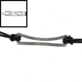 Slate 404.0219.21 Armband staal/leder zilverkleurig-zwart 21 cm