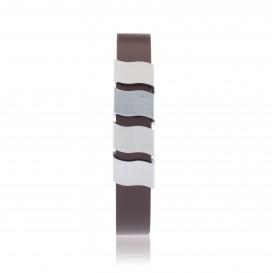 Slate 404.0322.21 Armband staal/leder zilverkleurig-bruin 21 cm